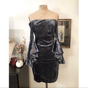 Off shoulder crushed velvet bell sleeve dress
